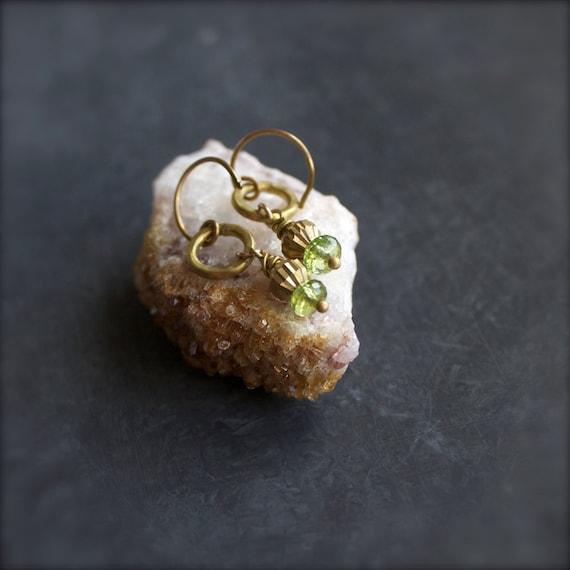 Gold Brass Peridot Dangle Drop Earrings Green Stone August Birthstone Gemstone Boho Jewellery