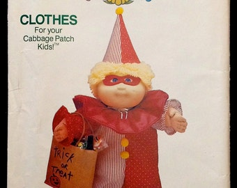 Doll Halloween Costume Sewing Pattern - Cabbage Patch Kids Doll Clothes Vintage Uncut