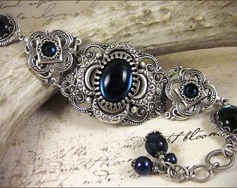 Blue Medieval Bracelet, Tudor Bracelet, Quatrefoil, Renaissance Jewelry, Antiqued Filigree Jewelry, Tudor Jewelry, Canter