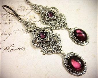 Medieval, Renaissance, Tudor, Amethyst, Purple, Medieval Jewelry, Queen, Wedding, Bridesmaid Earrings, SCA, Avalon