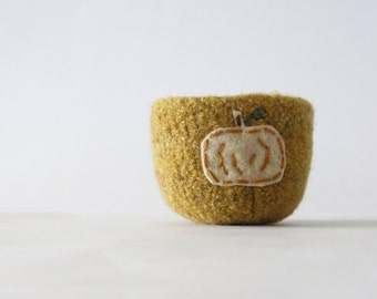 from the pumpkin patch -   turmeric/mustard felted wool bowl with beige pumpkin - home decor, minimalist, autumn decor, simple, harvest