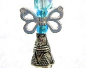 Blue Fairy Butterfly Angel. Rear View Mirror Charm, Purse Charm OR Pendant