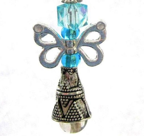 Blue Fairy Butterfly Angel. Christmas Ornament, Rear View Mirror Charm, Purse Charm OR Pendant