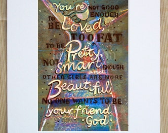 God's Beloved Girl Inspirational Art Print, Hidden Message to Empower Girls and Women