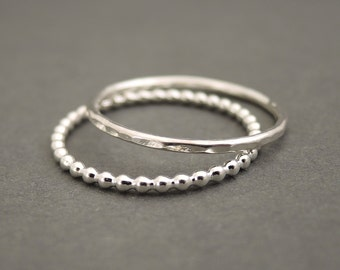 Sterling Silver Rings stacking ring set of 2 Stack Rings sterling silver bead wire stackable rings