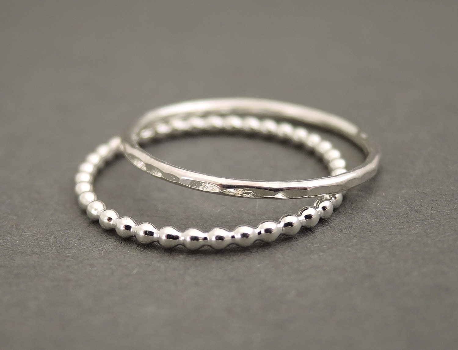 sterling silver rings stacking ring set of 2 stack rings