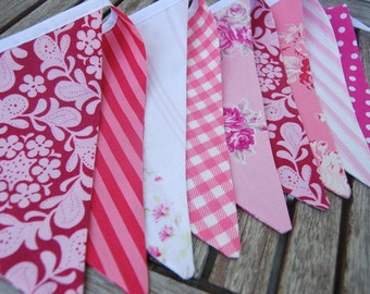 All Pink Girl's Birthday, Dessert Table Decoration, Backdrop, Garland -- Fabric Flag Bunting Banner -- Princess Party, Spa Day -- SALE