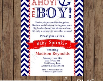 Custom Printed Navy and Red Nautical Baby Sprinkle Invitations - 1.00 each with envelope