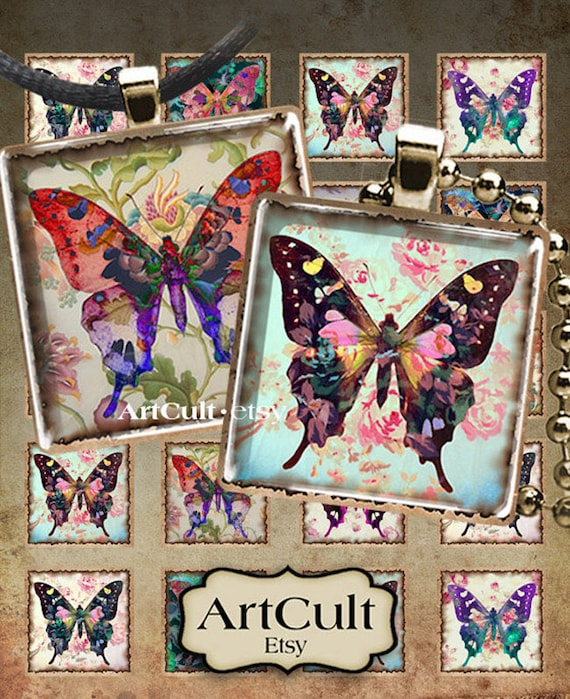 Digital Collage Sheets PAPILLONS 1x1 inch and 7/8x7/8 inch size printable images for pendants bezel cabochons magnets Art Cult craft paper