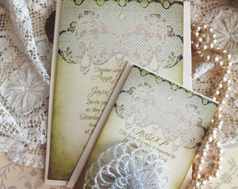 Vintage Lace Romantic Wedding Invitations Handmade by avintageobsession on etsy