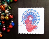 Angelic Christmas, Pack of 2 hand screen printed Christmas cards