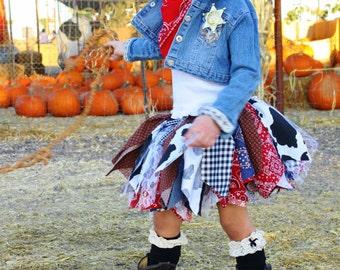 Cowgirl Tutu Skirt Scrappy Tutu Fabric Scrap Tutu Size Newborn to 4T Rootin Tootin Cutie