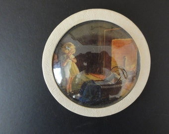 Vintage Antique Convex Domed Glass Girl With Infant in Cradle Picture Wall Plaque-Nursery