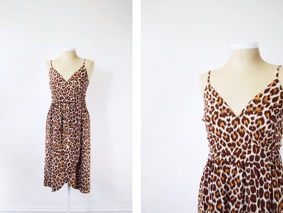 1970s Leopard Print Wrap Dress - S/M