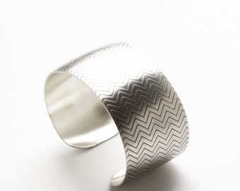 "Domed silver cuff, modern silver bracelet with a geometric chevron pattern embossed on the wide surface - ""Chevron Cuff"""
