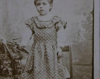 Sweet Little Girl or Boy in Long Print Dress - Ruffles - Antique CDV Photo - NY - 1894