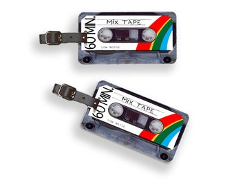 Personalized Luggage Tags Retro MixTape Cassette Tape Version 2 Luggage Tags - Full Metal Tags Luggage Tag Set Personalized