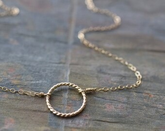 delicate gold necklace, simple circle necklace, bridesmaids wedding gift, dainty necklace, small everyday layering necklace, N120