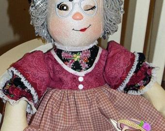 Handmade Grandmother rag doll, cloth doll, Rag doll, Raggedy Ann