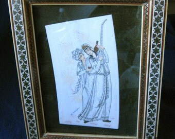 Signed Painting on Bone Persian Indian Couple Framed Vintage