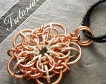 Chainmaille Tutorial, Flower Pattern, Chain Mail Pendant, Helm and Oriental Variant, Conundrum