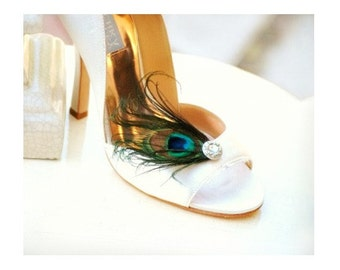 Sparkly Iridescent Peacock Shoe Clips. Plume de Paon pour Chaussures. Feminine Couture, Emerald Teal Green Aqua Bleu, Elegant Bride Bridal