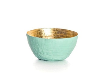 Mint Paper Bowl, Gold Leaf Bowl, Mint Seafoam Green, Paper Mache Bowl, Tiny Bowl, Gold Small Bowl, Gold Decor