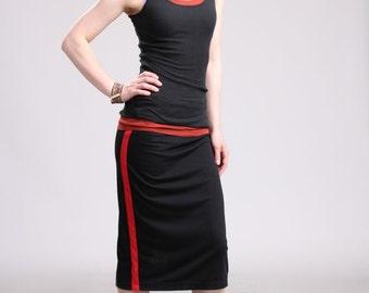 Side Stripe Black Pencil Skirt, Black Midi Skirt, Straight Jersey Skirt, Pull On Skirt, Side Lined Skirt, Sporty Stripe Skirt