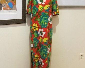 1960s Royal Hawaiian Maxi Shift Dress Tropical Hibiscus Flower Textured Bark Cloth Print Perfect for Beach Island Cruise Vacation