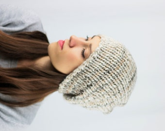 Slouchy Beanie Hat, Women's Slouchy Hat, Hand Knit Hat, Teen Knitted Beanie, Men's Knitted Slouchy Hat, Winter Accessories