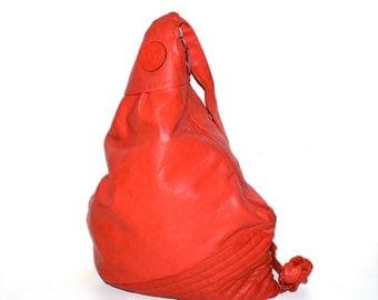 FENDI Vintage Oversized Red Leather Handbag Triangle Sling - AUTHENTIC -