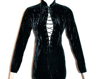 SAINT LAURENT Rive Gauche Vintage Dress Black Velvet Safari Lace Up Tunic - AUTHENTIC -
