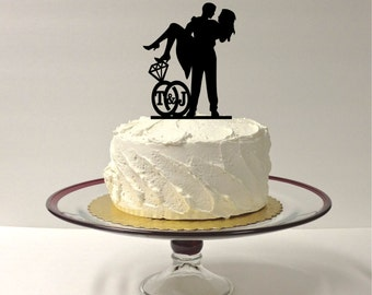PERSONALIZED Cute Wedding Cake Topper With YOUR Initials of the Bride & Groom in a Wedding Ring Design SILHOUETTE Cake Topper