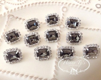 10 pcs - 13mm SMOKE BLACK Silver Metal Mini Crystal Rhinestone Buttons - wedding / hair / dress / garment accessories Flower Center