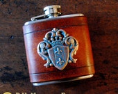 Flask - copper verdigris crest on brown leather