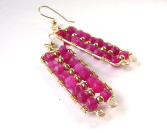 Pink Jade Earrings, Fuchsia Pink, Gold Wire Wrapped Rectangles, Geometric, Hot Pink Earrings, 860