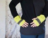 Women wrist warmers in neon yellow and gray soft and warm crochet fingerless gloves or hand warmers
