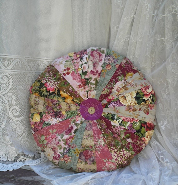 Round Floral Pillow Shabby Chic BoHo Quilted Large 20