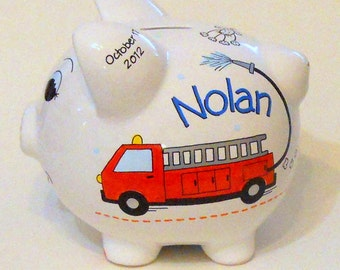 Personalized Piggy Bank Red Fire Truck and Dalmation Dogs