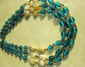 Boho necklace, Teal, blue green necklace, opal, beach, multi strand, brass chain, couture, artisan designer jewelry, handmade gemstone