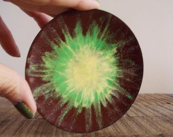 Vintage Enamel Copper Trinket Dish Brown with Yellow Green Sunburst