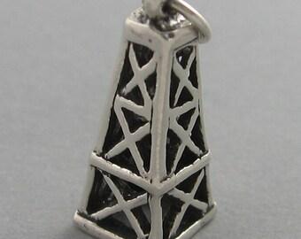 OIL DERRICK 3D Sterling Silver 925 Charm Pendant SC836