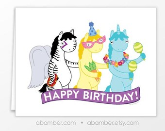 Magical Happy Birthday Party Conga Line Animal Characters Greeting Card Cute and Silly Animals - Illustrated by Adrianna Bamber
