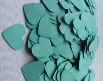 Wedding confetti hearts - Wedding turquoise Hearts - Paper hearts - 100 die cut hearts - paper heart table confetti - weddings
