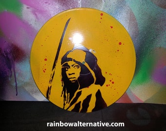 The Walking Dead Michonne Painting On Vinyl Record Stencil