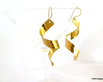Gold spiral earrings, hammered brass corkscrew dangle earrings, gift under 30
