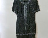 Vintage Silk Beaded Dress - Black Dress with Beads - Stenay - Size 8 Small Medium - Gift For Her