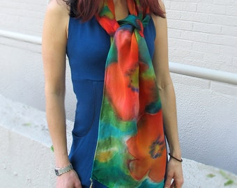 Silk/Wool Hand-Painted Scar,f Poppies Multicolored Red Green, Light weight