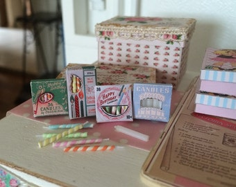 BIRTHDAY CANDLES in Vintage BOX - Choose 1/12 or 1:6 Scale