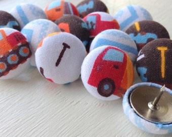 Push Pins,15 Pushpins,Thumb Tacks,Thumbtacks,Blue,Red,Brown,Blue Chevron,Baby Shower Gift,Trucks,Tools,Home Office,Chevron Pushpins,Boy Room